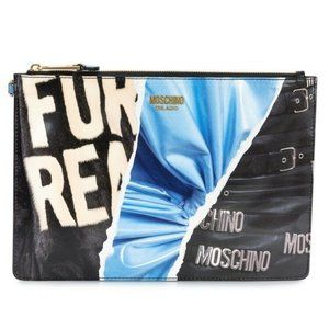 AW17 Multi-color Collage All Over Print Clutch XL